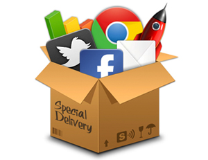 social media package with Facebook, Twitter, and Google Plus in a box
